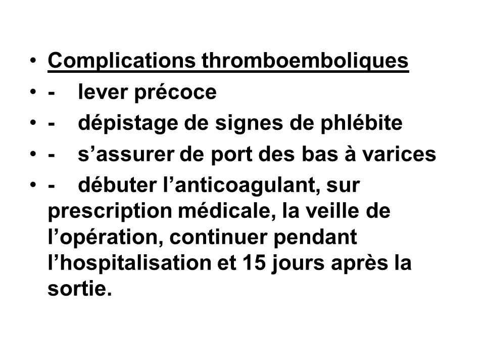 Complications thromboemboliques