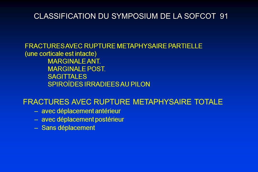 CLASSIFICATION DU SYMPOSIUM DE LA SOFCOT 91