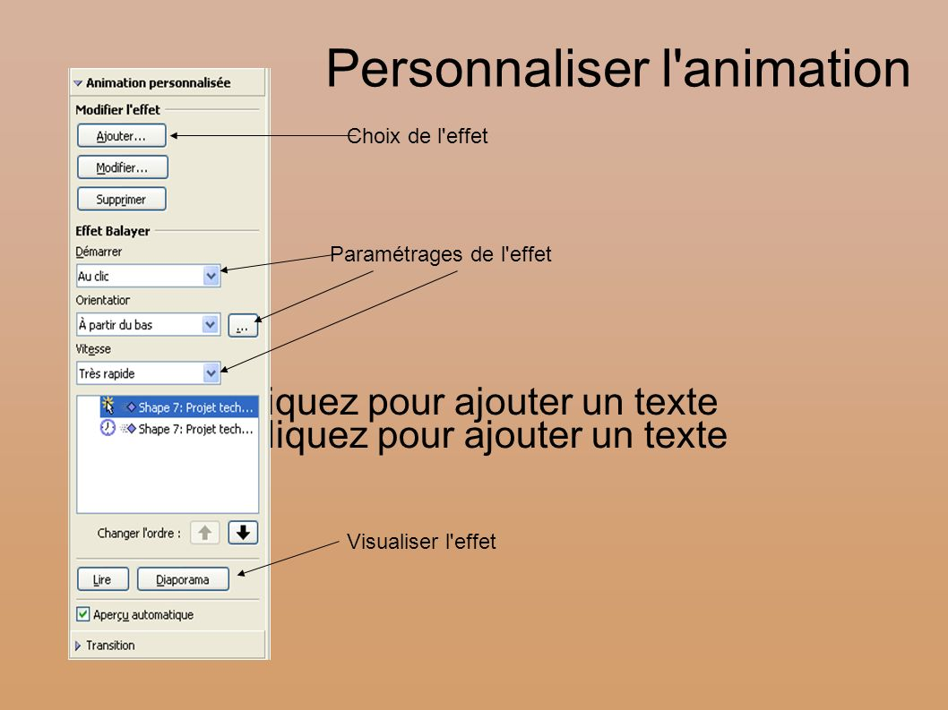 Personnaliser l animation