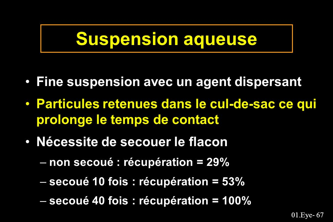 Suspension aqueuse Fine suspension avec un agent dispersant