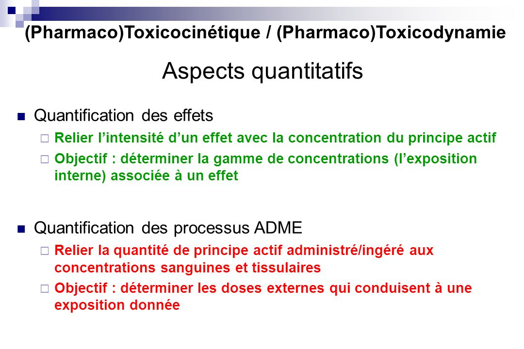 (Pharmaco)Toxicocinétique / (Pharmaco)Toxicodynamie