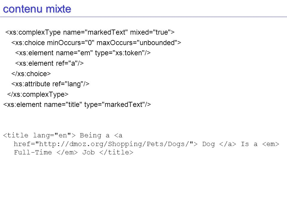 contenu mixte <xs:complexType name= markedText mixed= true >