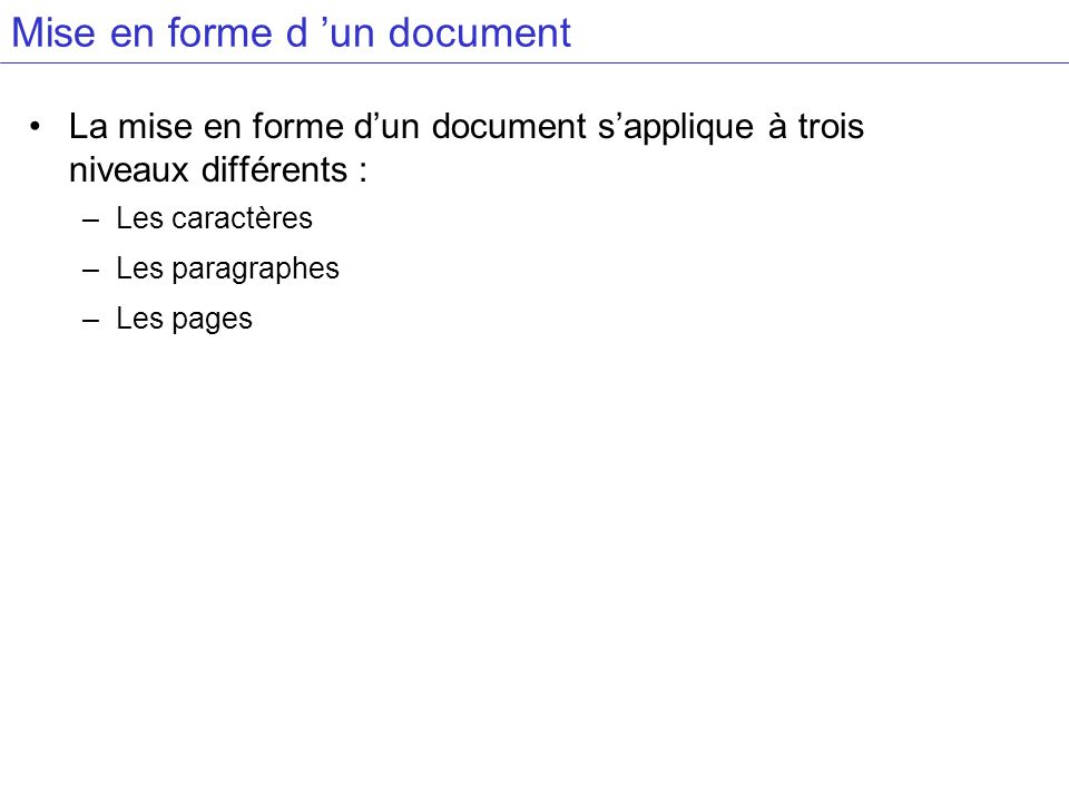 Mise en forme d 'un document