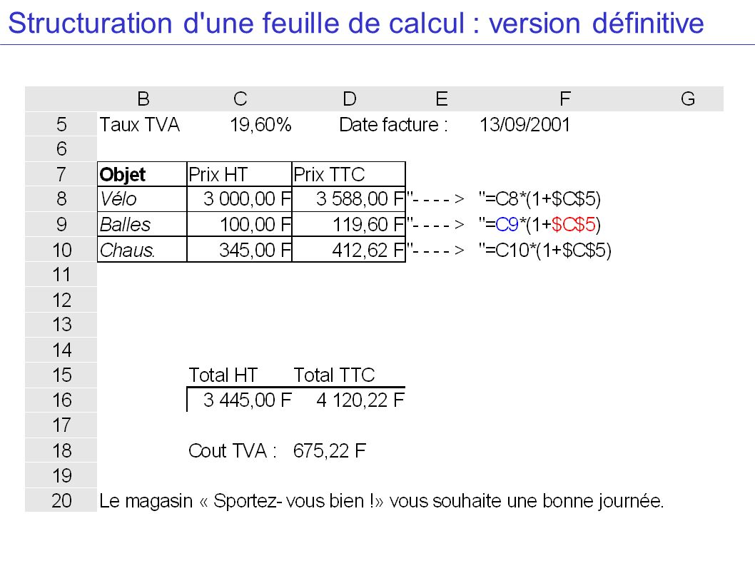 Structuration d une feuille de calcul : version définitive