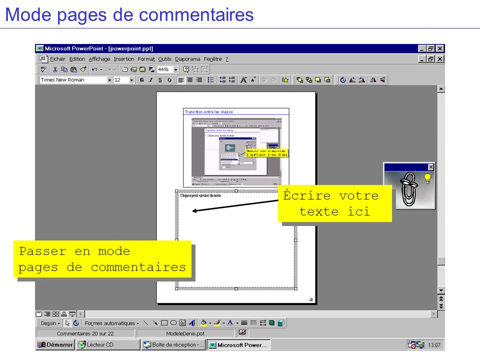 Mode pages de commentaires