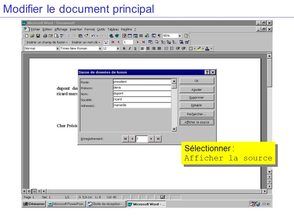 Modifier le document principal