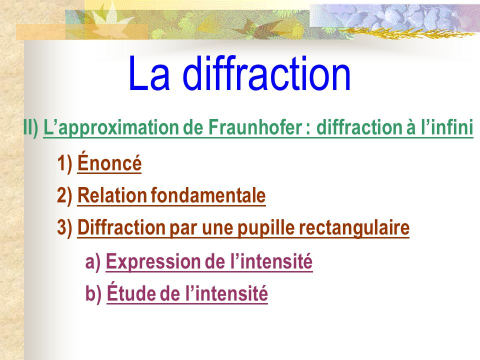 La diffraction II) L'approximation de Fraunhofer : diffraction à l'infini. 1) Énoncé. 2) Relation fondamentale.