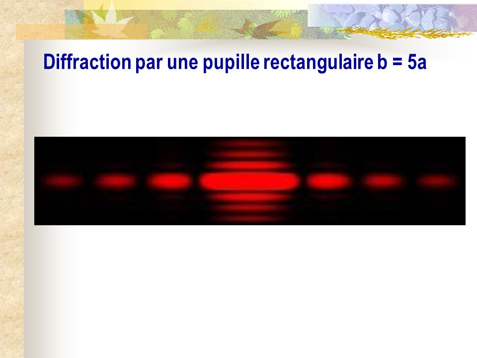 Diffraction par une pupille rectangulaire b = 5a