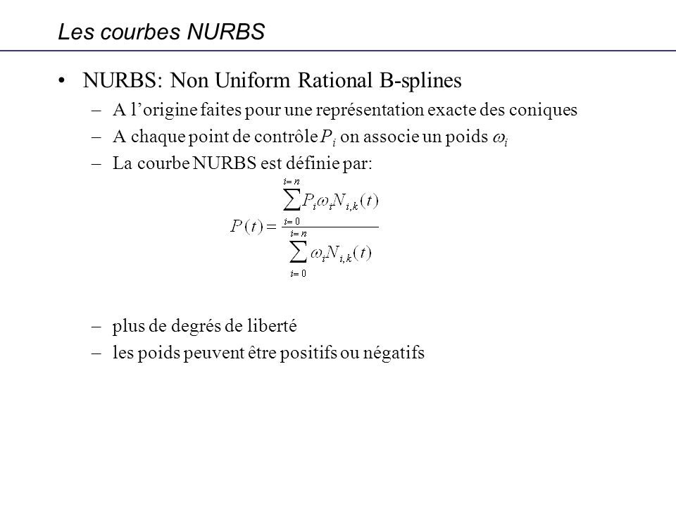 NURBS: Non Uniform Rational B-splines
