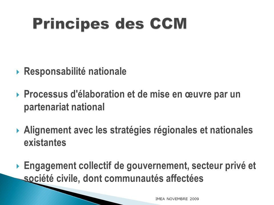 Principes des CCM Responsabilité nationale