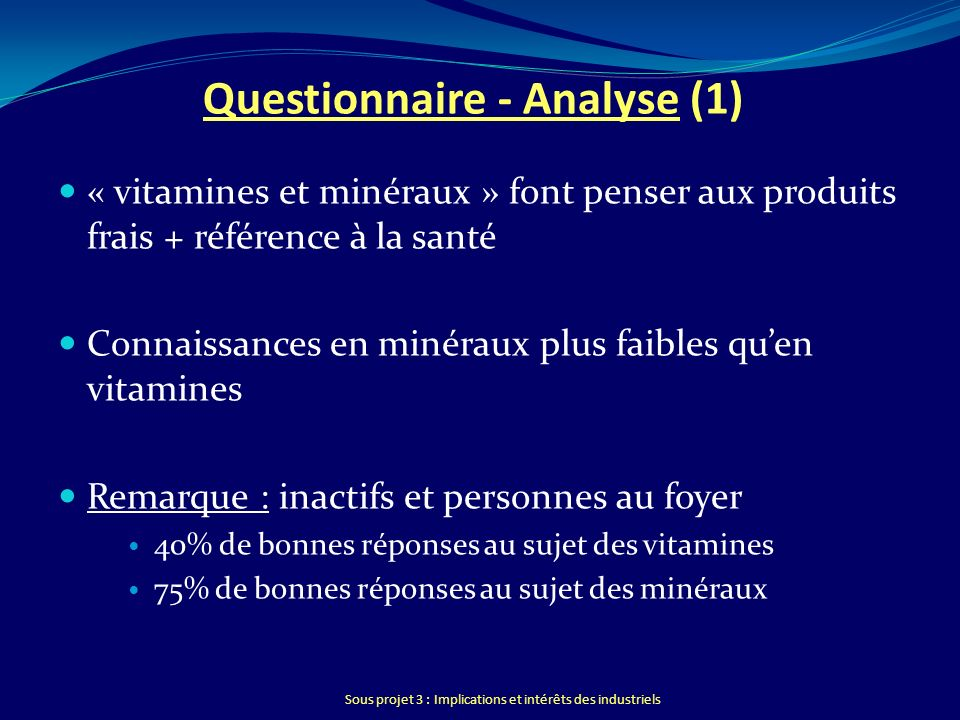 Questionnaire - Analyse (1)