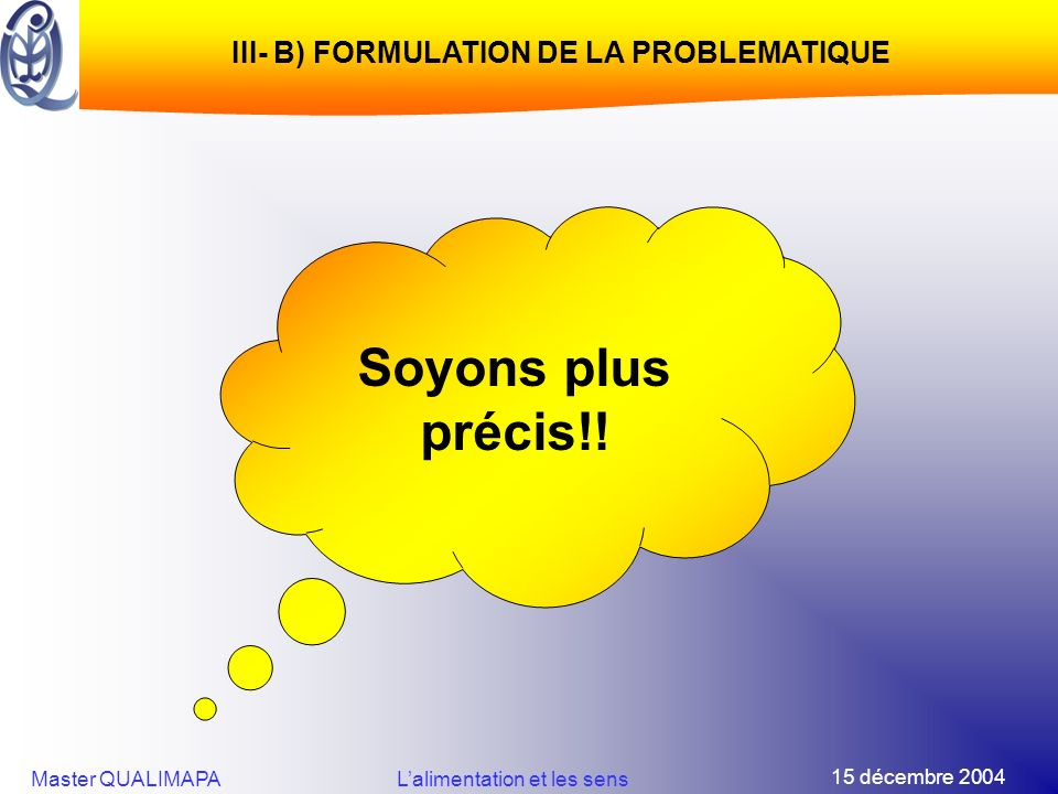 III- B) FORMULATION DE LA PROBLEMATIQUE