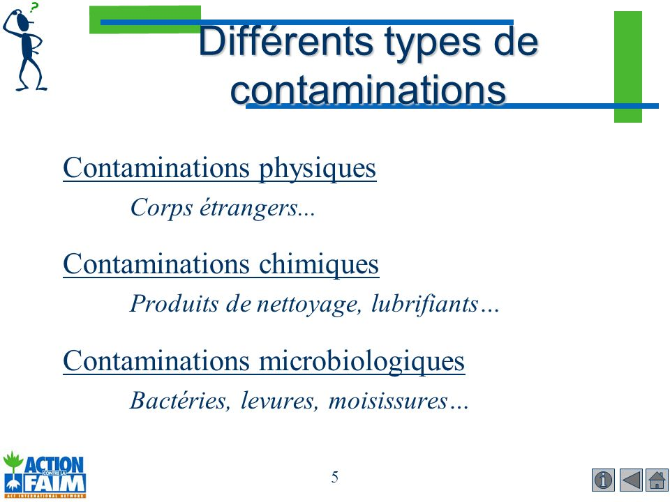 Différents types de contaminations