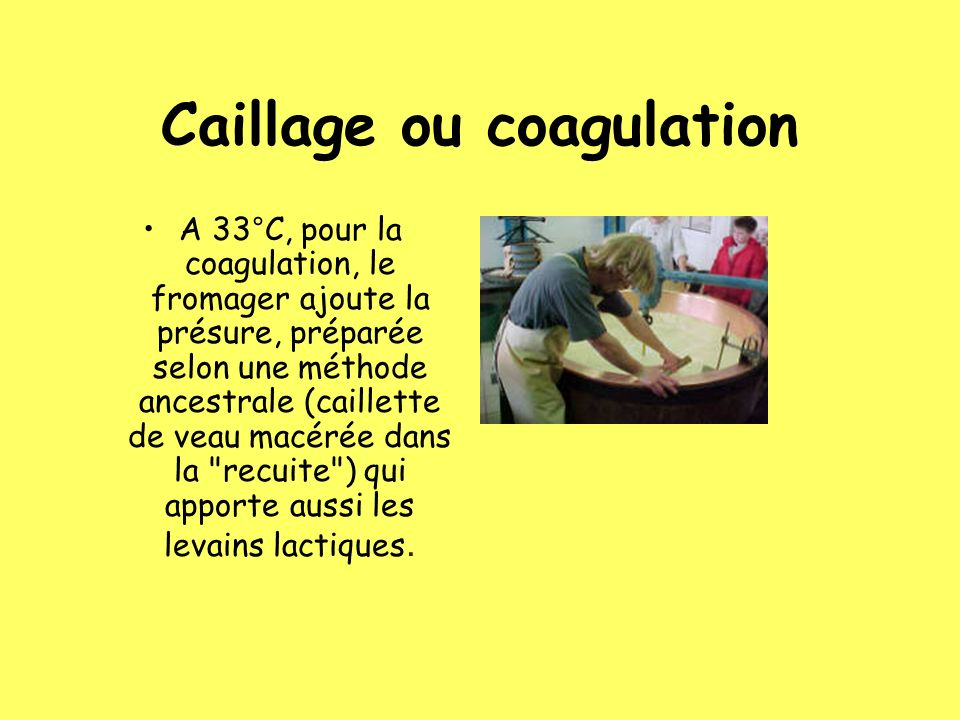 Caillage ou coagulation