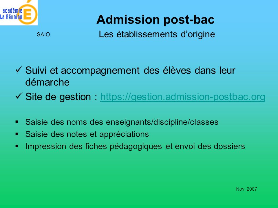 Admission post-bac Les établissements d'origine