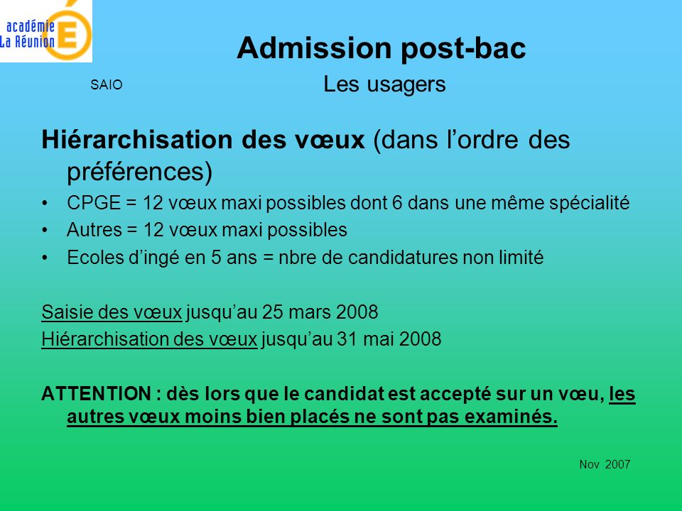 Admission post-bac Les usagers