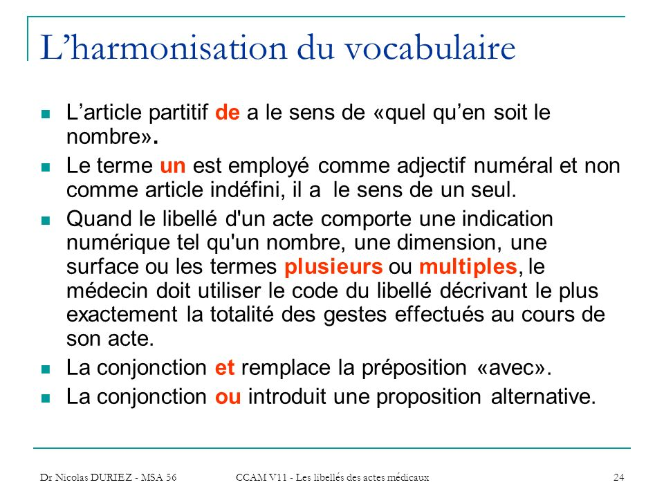 L'harmonisation du vocabulaire
