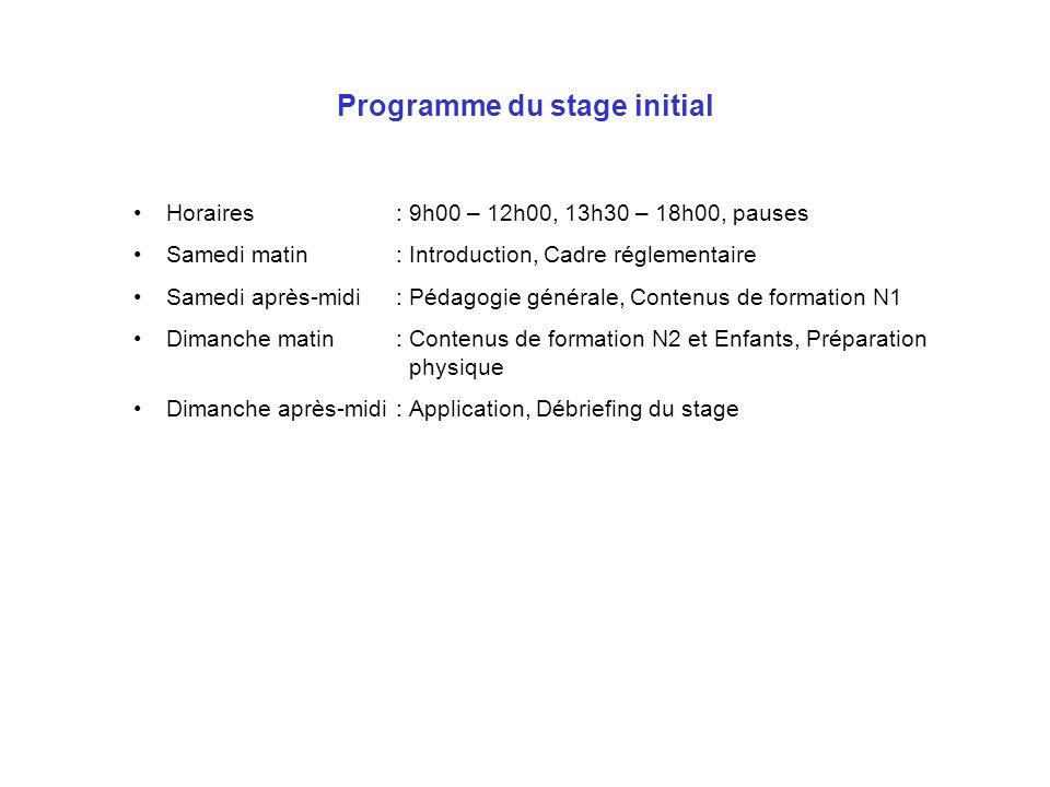 Programme du stage initial