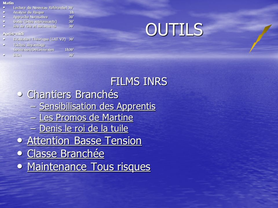 OUTILS FILMS INRS Chantiers Branchés Attention Basse Tension