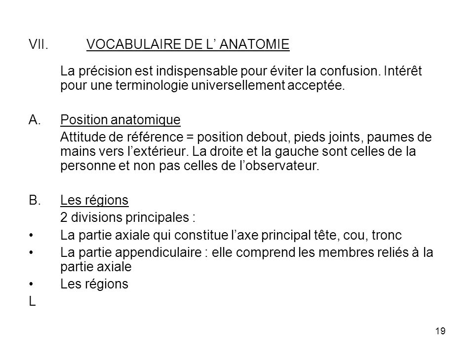 VOCABULAIRE DE L' ANATOMIE