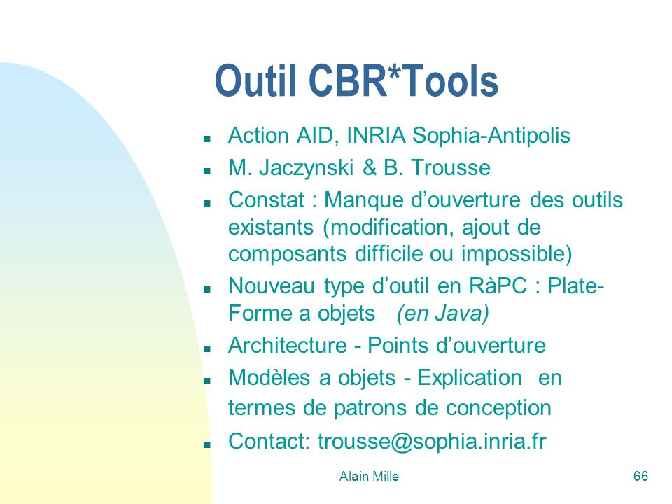 Outil CBR*Tools Action AID, INRIA Sophia-Antipolis