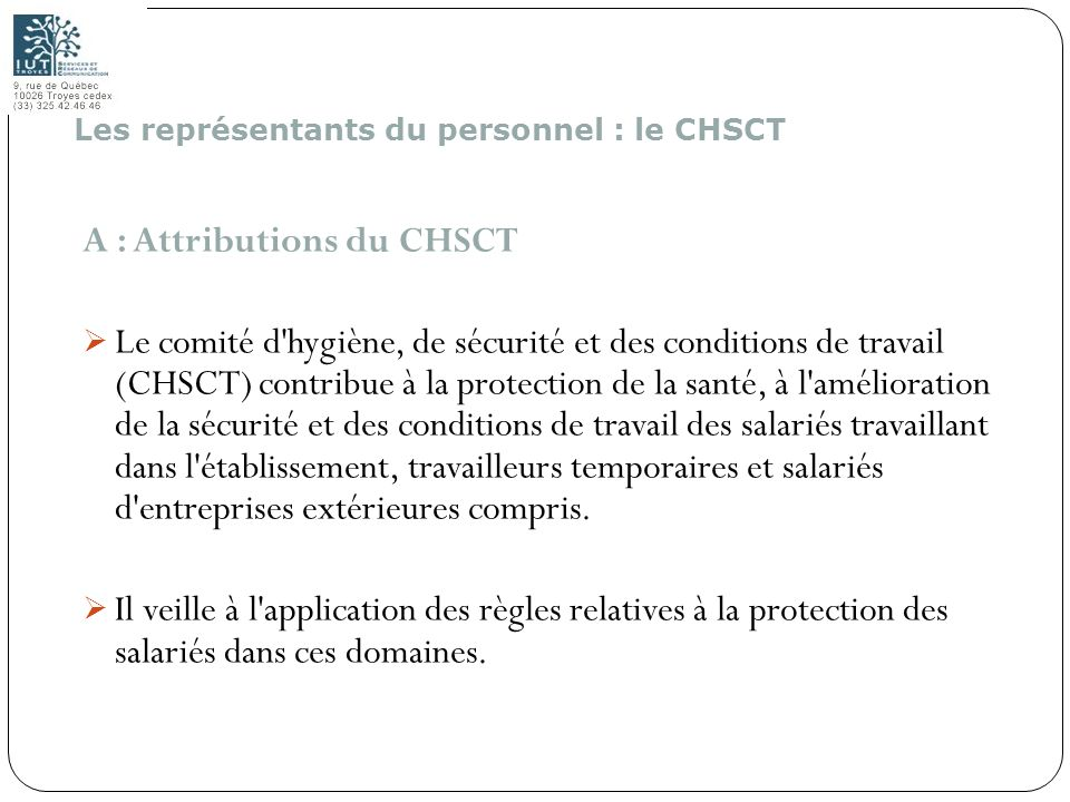 A : Attributions du CHSCT