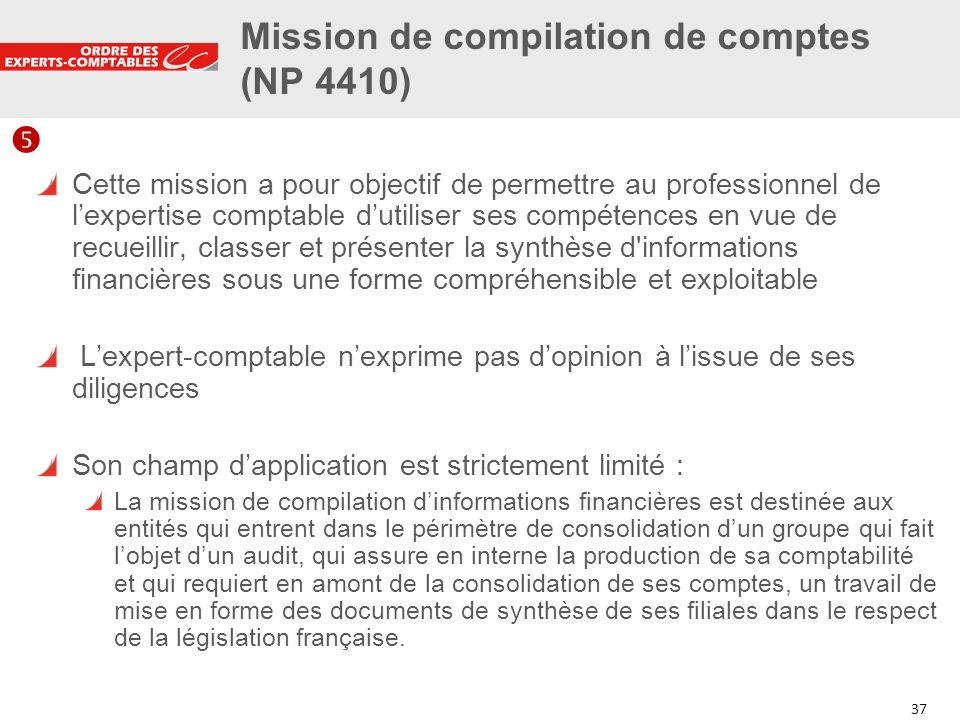 Mission de compilation de comptes (NP 4410)