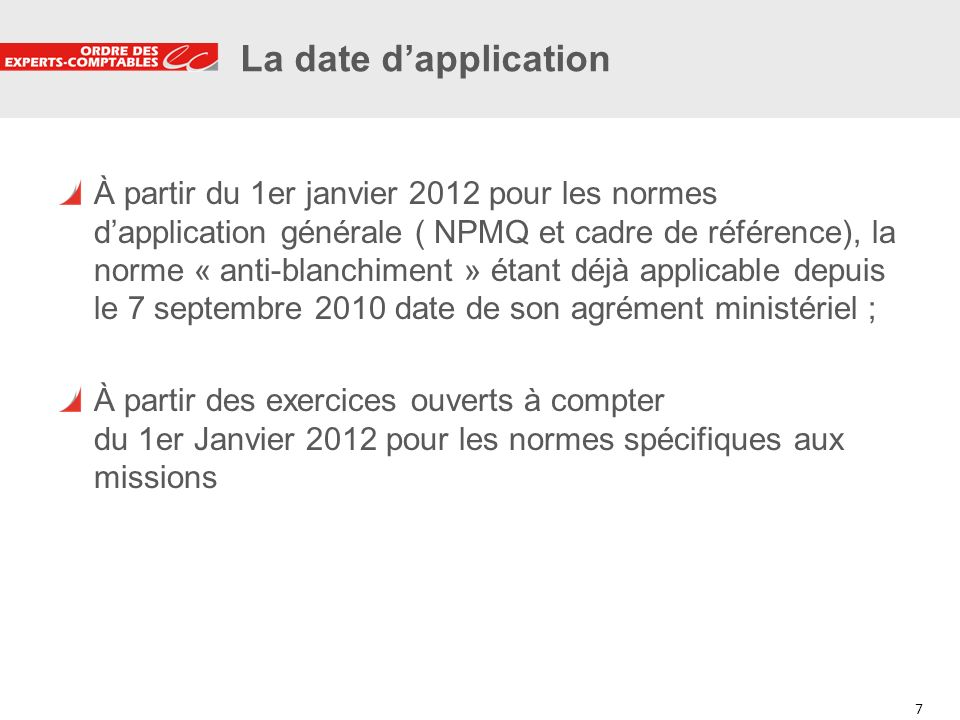 La date d'application