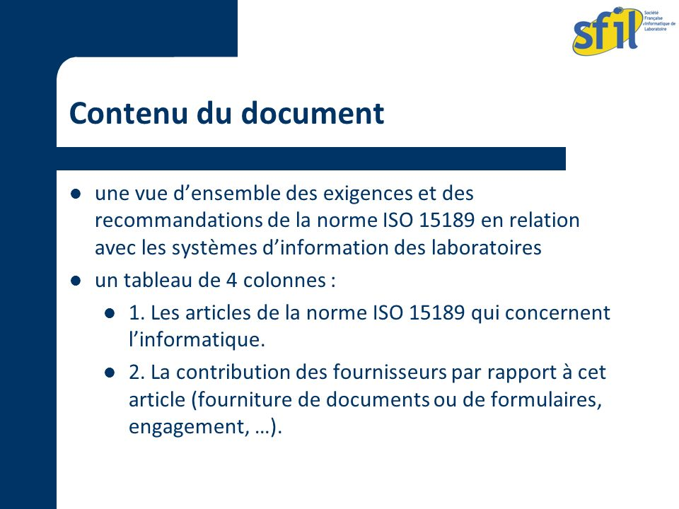 Contenu du document