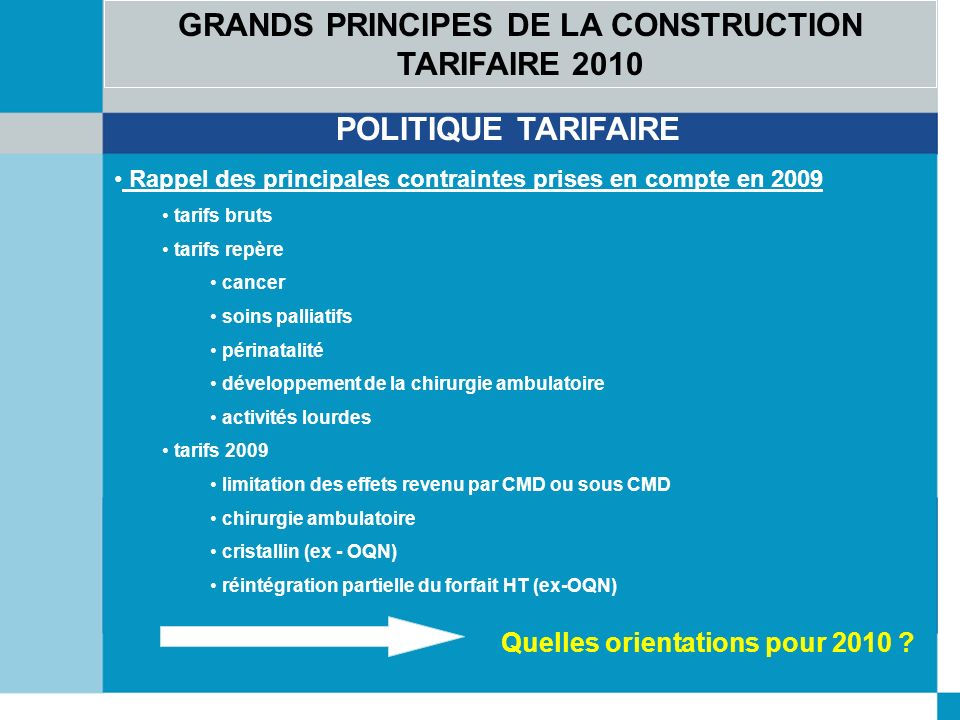 GRANDS PRINCIPES DE LA CONSTRUCTION TARIFAIRE 2010 POLITIQUE TARIFAIRE