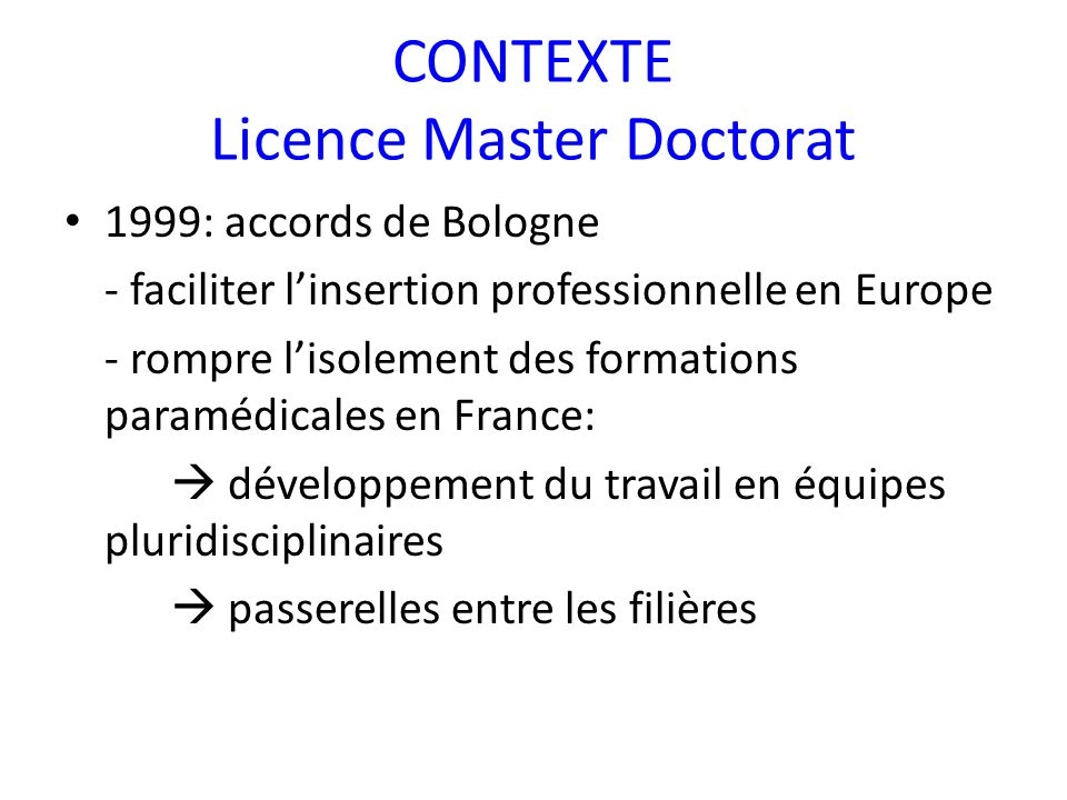 CONTEXTE Licence Master Doctorat