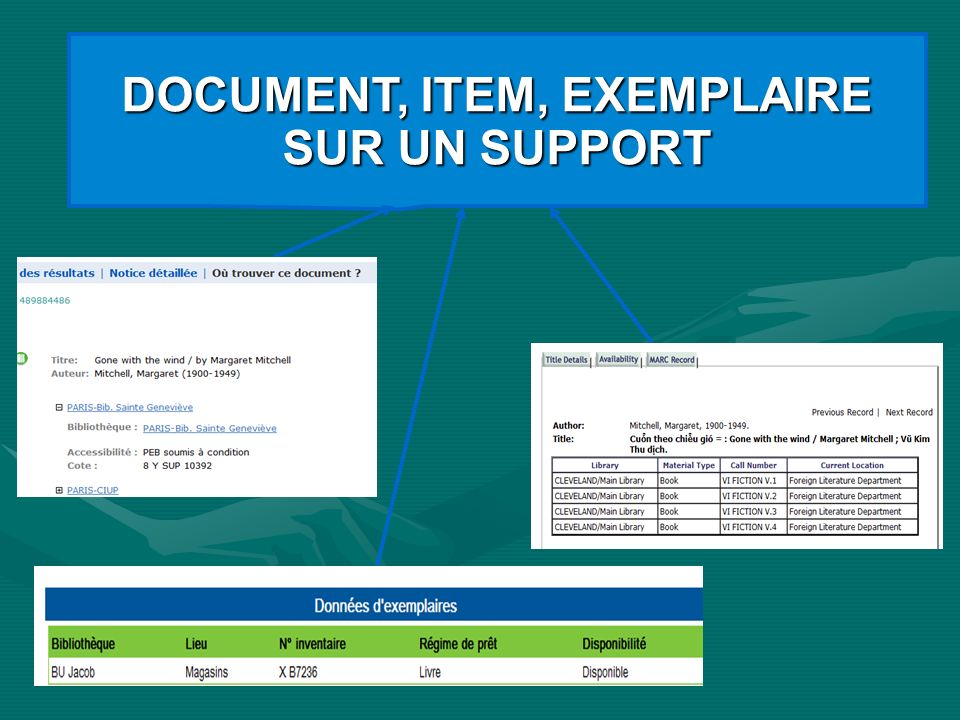 DOCUMENT, ITEM, EXEMPLAIRE