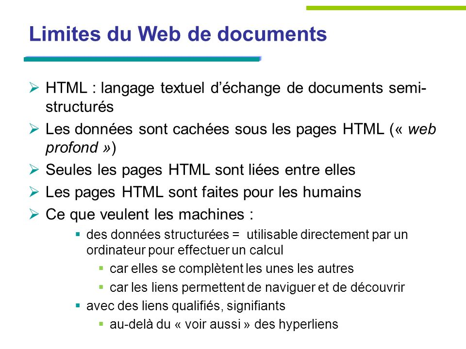 Limites du Web de documents
