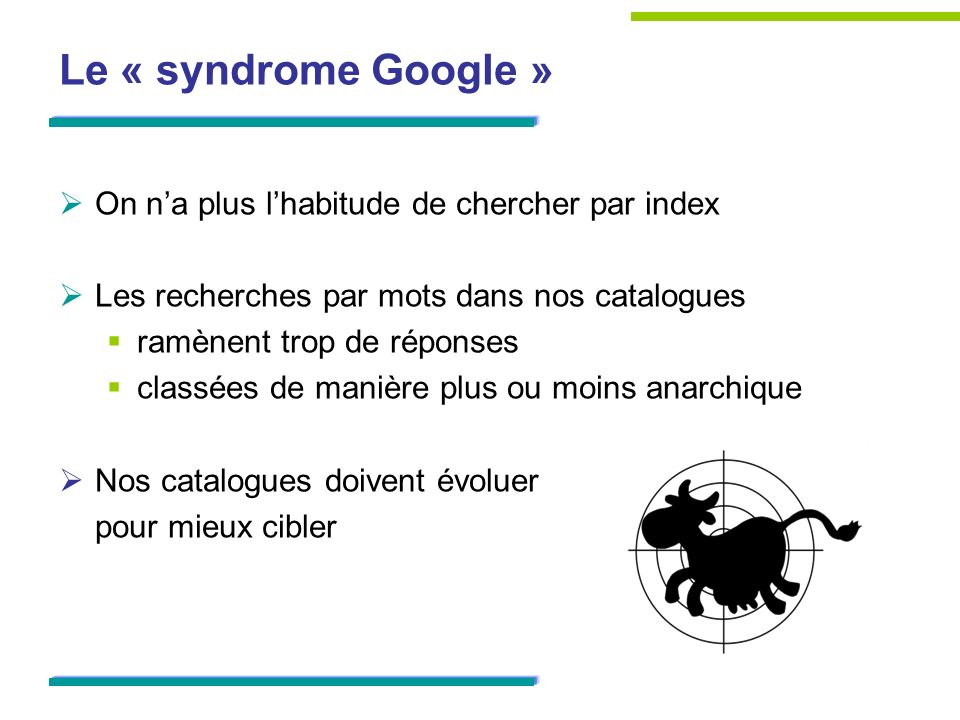 Le « syndrome Google » On n'a plus l'habitude de chercher par index