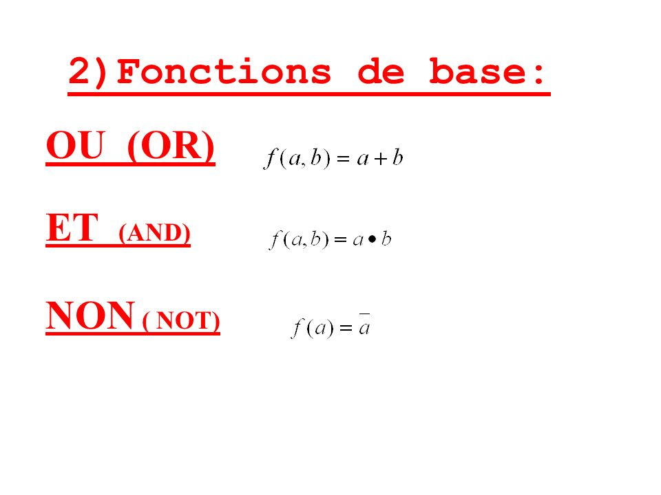 2)Fonctions de base: OU (OR) ET (AND) NON ( NOT)
