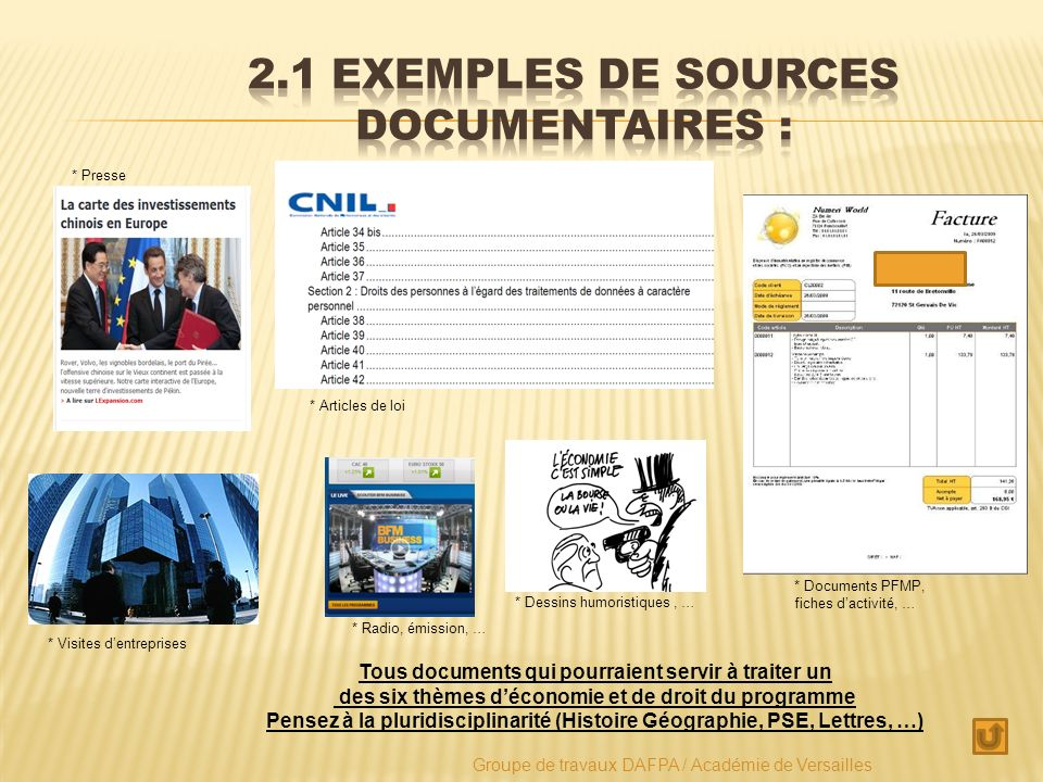 2.1 Exemples de sources documentaires :