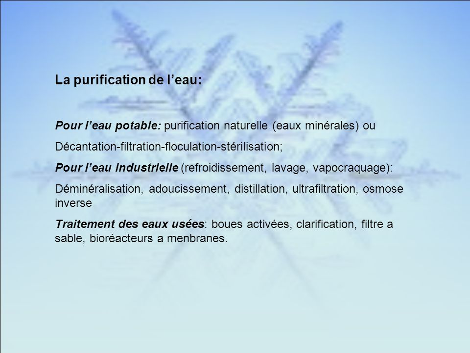 La purification de l'eau:
