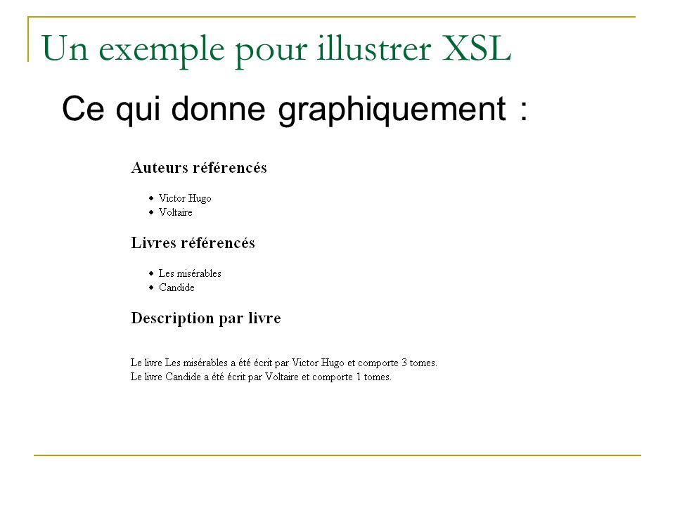 Un exemple pour illustrer XSL