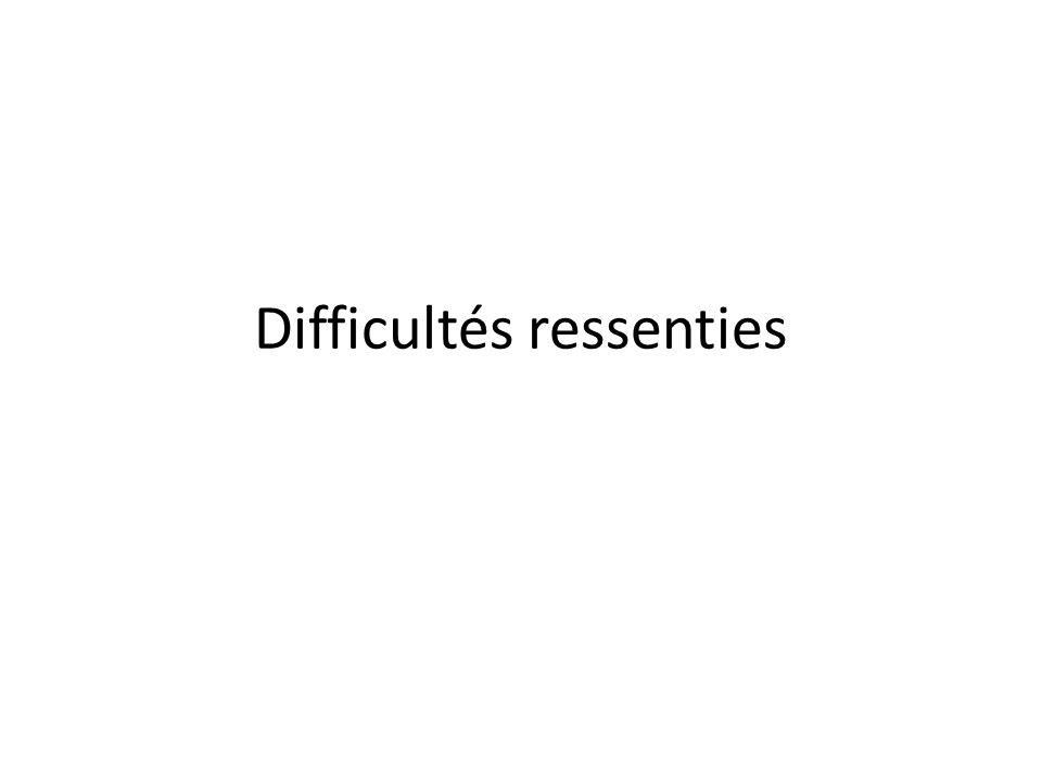 Difficultés ressenties