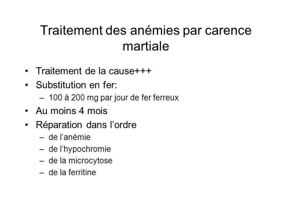 Traitement des anémies par carence martiale