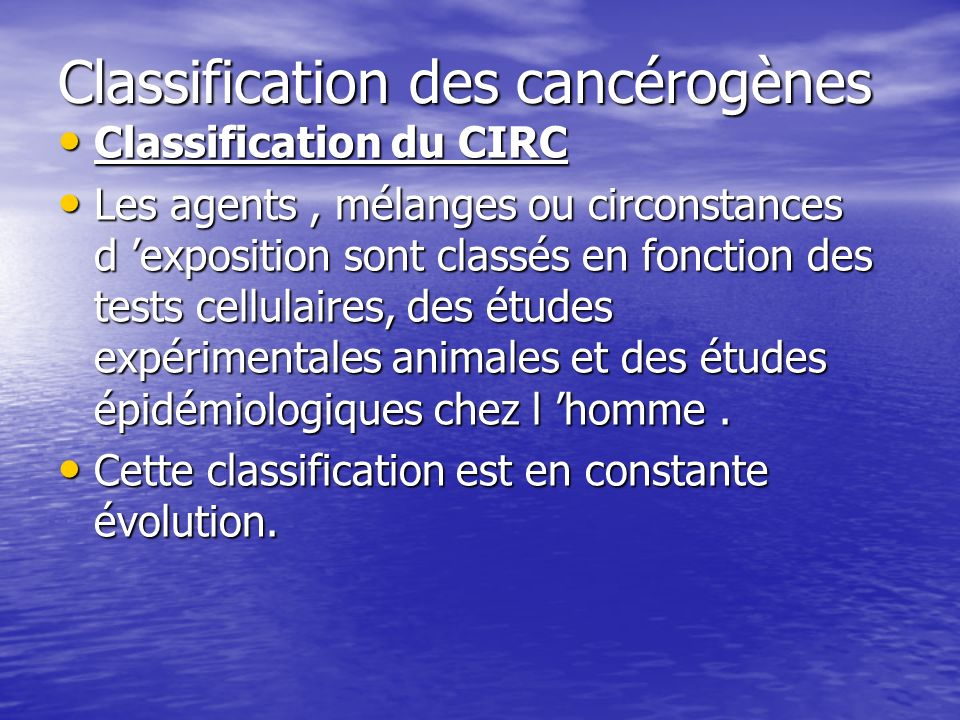 Classification des cancérogènes