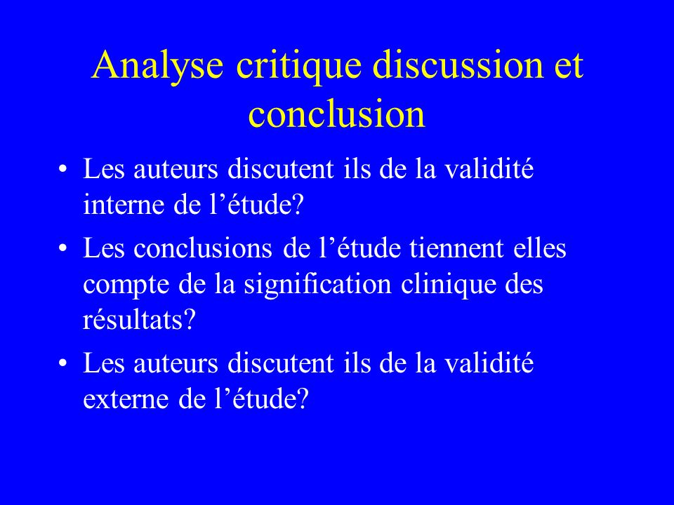 Analyse critique discussion et conclusion
