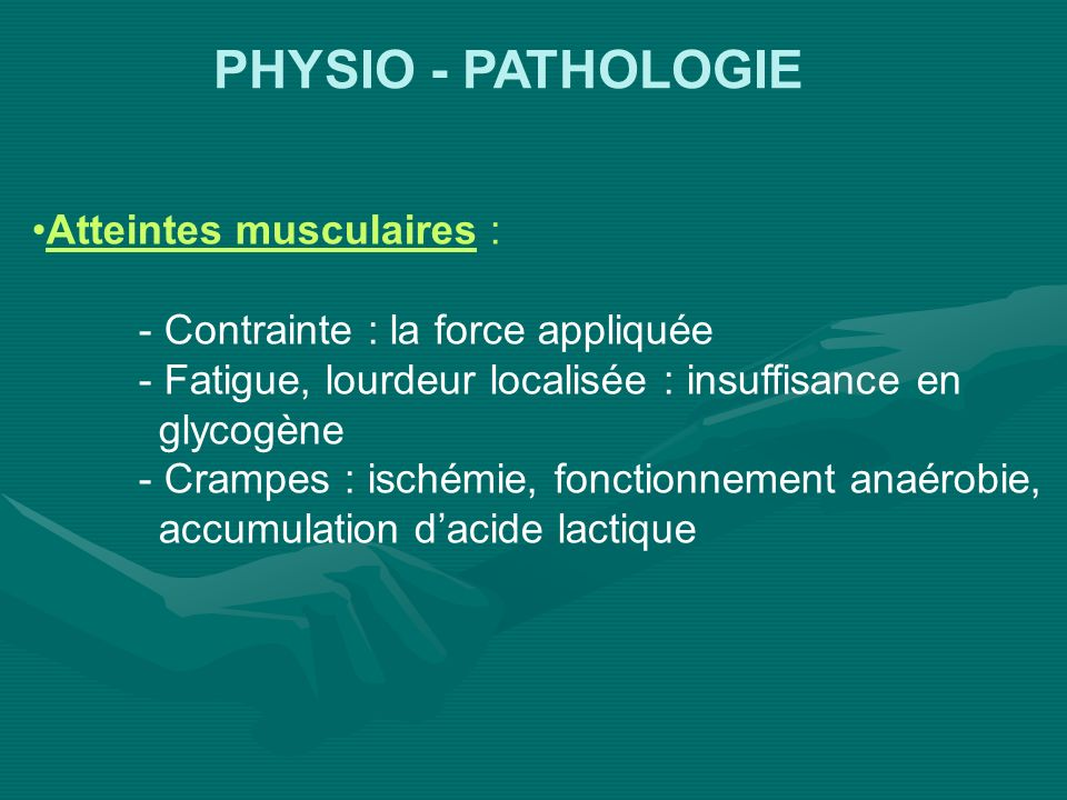PHYSIO - PATHOLOGIE Atteintes musculaires :