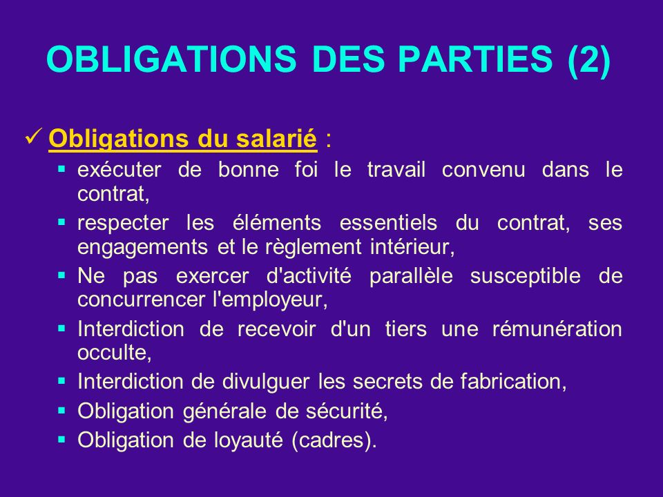 OBLIGATIONS DES PARTIES (2)