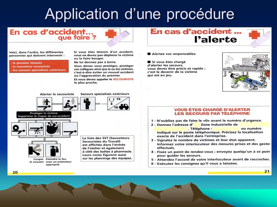 Application d'une procédure