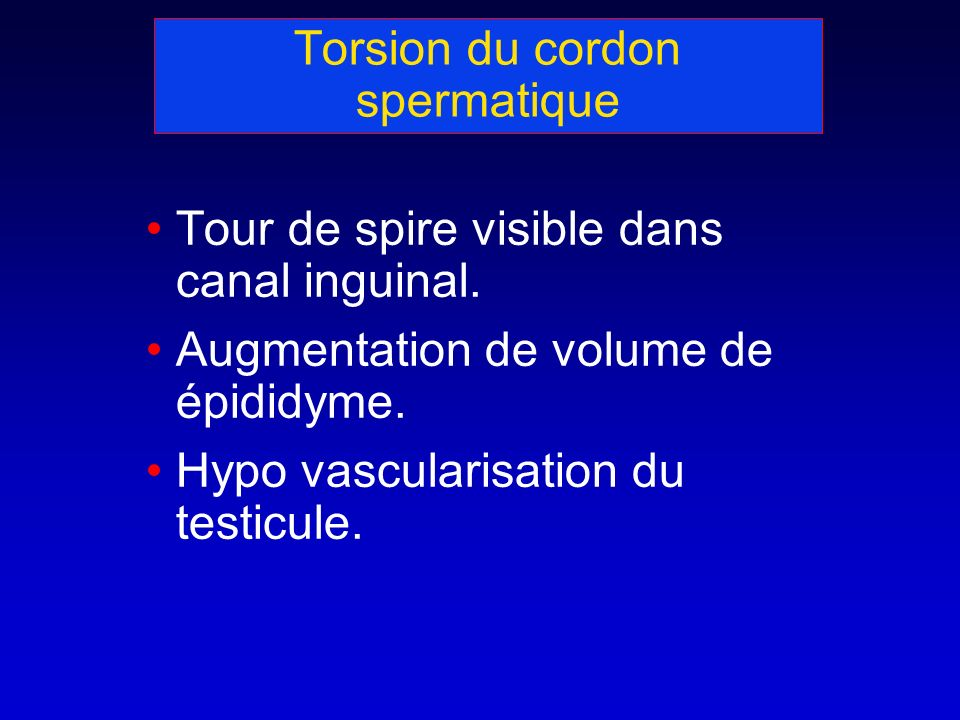 Torsion du cordon spermatique