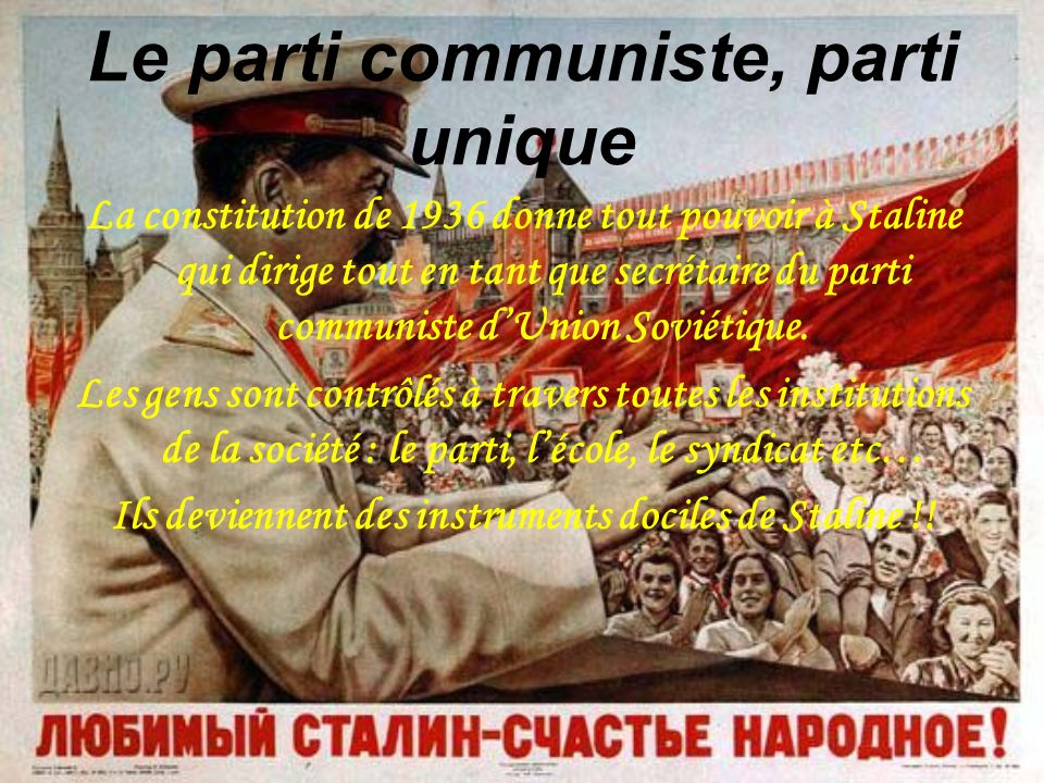 Le parti communiste, parti unique