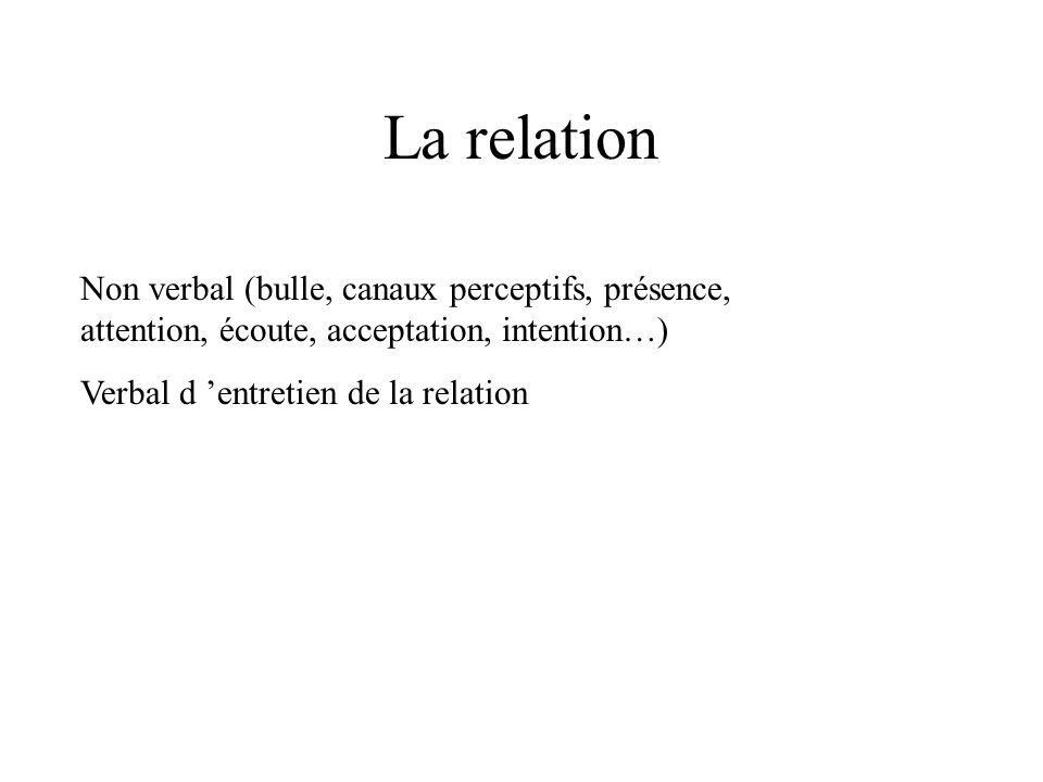 La relation Non verbal (bulle, canaux perceptifs, présence, attention, écoute, acceptation, intention…)