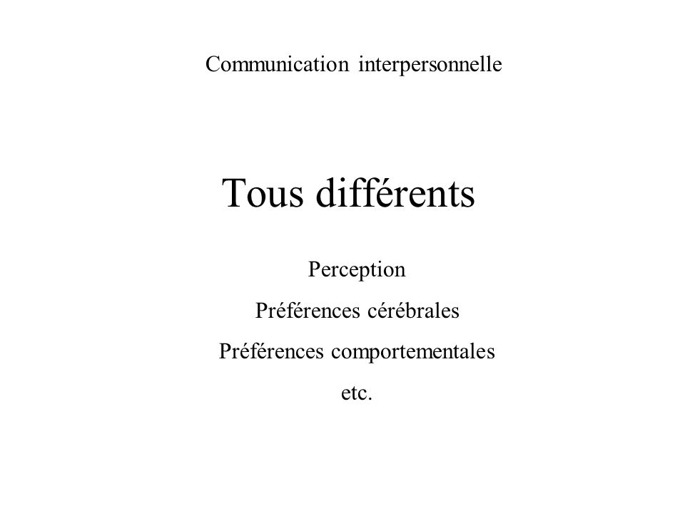 Tous différents Communication interpersonnelle Perception