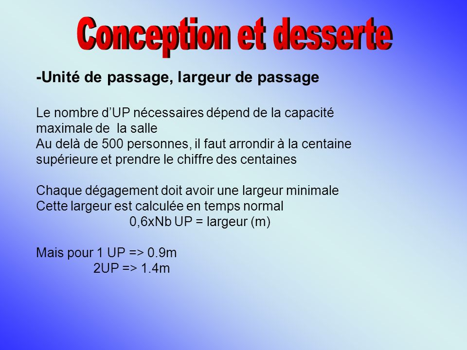 Conception et desserte